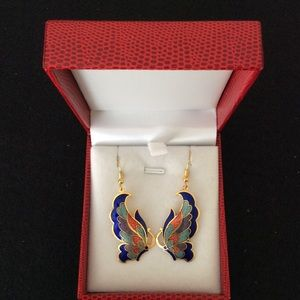 NEW chinese cloisonne earrings.